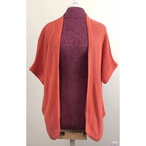 Moth Anthropologie Orange Cardigan Sweater Linen